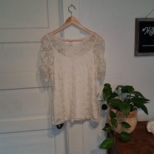 Large Bobbie Brooks Lace blouse over cami